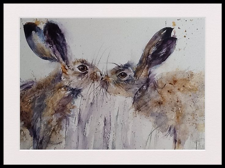 "Kissing hares watercolour painting by artist L J Holmes "" Giz a kiss """