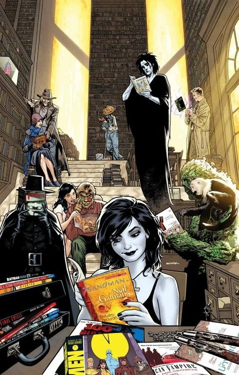 Death, The Sandman, Y the Last Man, V for Vendetta, Swamp Thing, Hellblazer, Fables and American Vampire - illustration by Ryan Sook