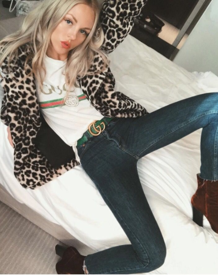 Gucci t-shirt | Leopard print coat | Cool girl style | Outfit ideas