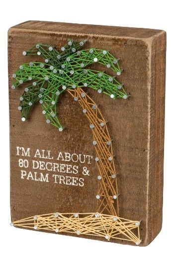Free shipping and returns on Primitives by Kathy 80 Degrees & Palm Trees String Art at Nordstrom.com. Colorful string creates an intricately patterned palm tree on a distressed wooden box sign that pays tribute to tropical dreams.