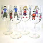 RED WINE GLASSES - 5 CHARACTERS, PERSONALISED (SET 4)