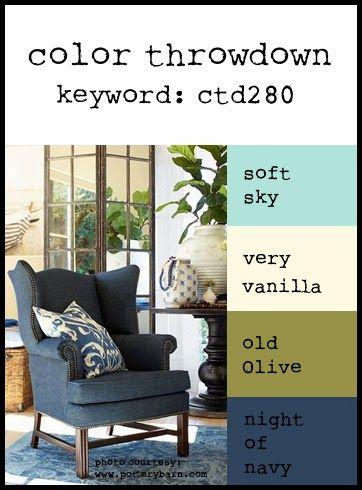 Color Throwdown #280: Soft Sky, Very Vanilla, Old Olive, Night of Navy (SU) or Aqua Mist, Enchanted Evening, Spring Moss (pti)