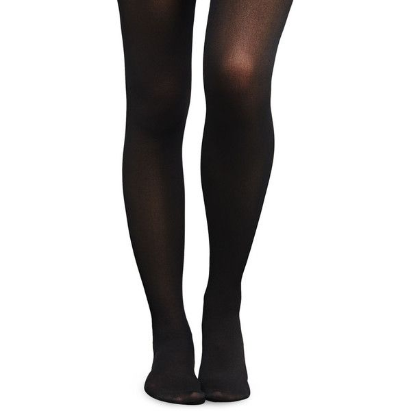 Basic Opaque Tights ($5.90) ❤ liked on Polyvore featuring intimates, hosiery, tights, black, opaque tights, black stockings, black tights, opaque hosiery and wet seal