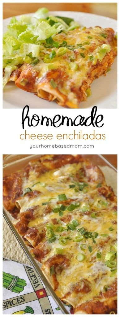 Get that restaurant taste and style at home with these yummy cheese enchiladas and the best enchilada sauce ever! @yourhomebasedmom.com