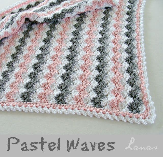 Pastel Waves (Leisure Arts - Our Best Baby Afghans) using Caron Simply Soft in White, Heather Grey and Soft Pink.