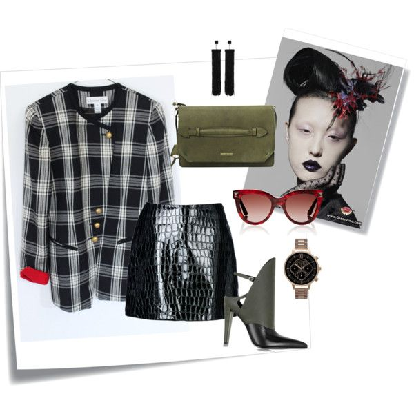 Subtle Military Style Outfit by Thriftionary on Polyvore featuring Jolie By Edward Spiers, Alexander Wang, Olivia Burton, Tom Ford, Valentino, Post-It, plaid, MilitaryStyle, tartan and fashionset