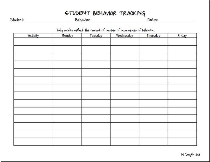 Student Behavior Tracking Form Templates