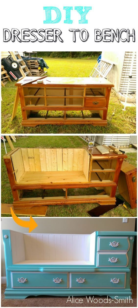 """doityourselfproject: """"DIY DRESSER TO BENCH by Alice Woods-smith """""""