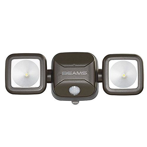 Mr. Beams MB3000-Brn-01-00 MB3000 High Performance Wireless Battery Powered Motion Sensing LED Dual Head Security Spotlight, 500 Lumens, Brown - The mr beams high performance LED security light instantly increases safety and security around the home. Providing 500 lumens of bright light and two adjustable heads that cover up to 800 square feet, the motion-activated spotlight is like having two outdoor security lights in one. Because the o...