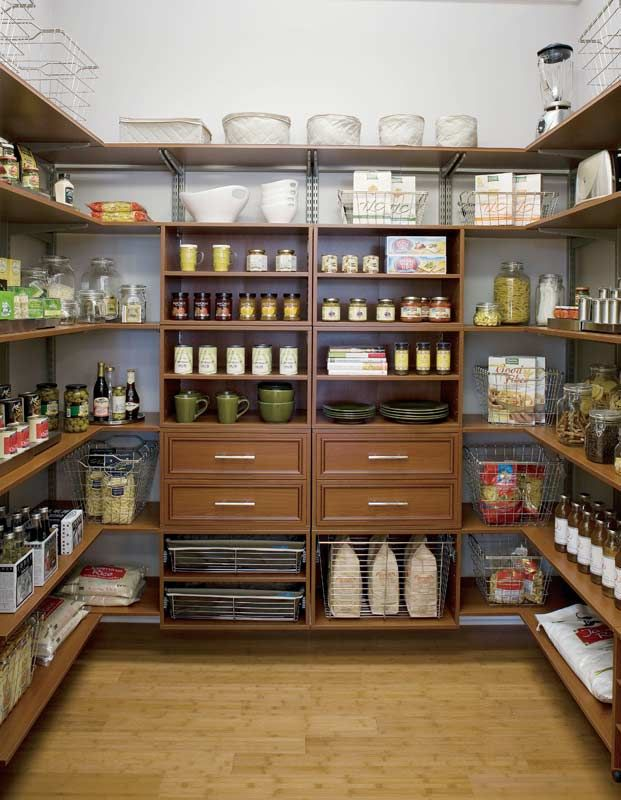 An adjustable pantry system can provide more storage than kitchen cabinets. It seems like a good place to store small appliances, bake ware, food, etc.