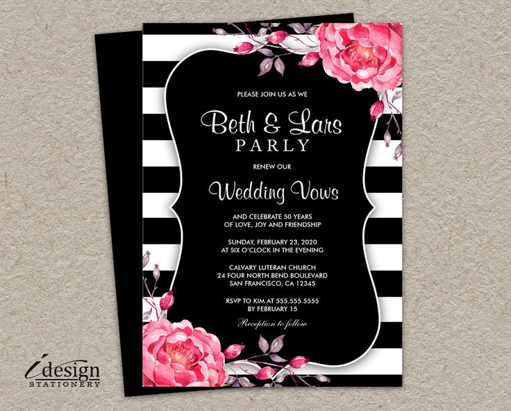 32 best floral black and white striped wedding invitations images on diy printable floral black and white stripe vow renewal reaffirmation or anniversary invitation with pink stopboris Gallery