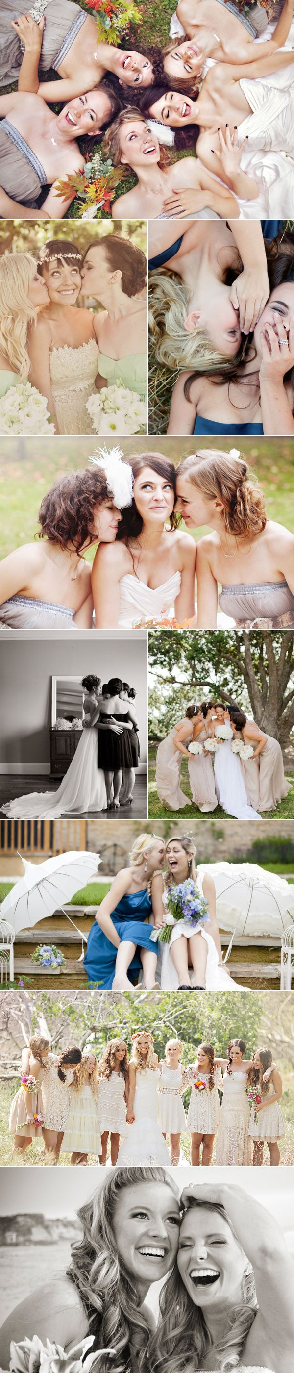 Lots of posed and natural looking bridesmaid shots pre wedding. Or sister pics