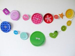 decorate with paper plate buttons for a sewing party