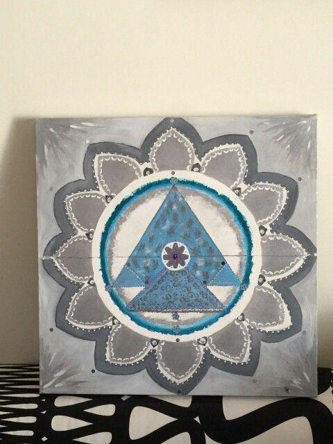 Mandala art: light blue silver mandala