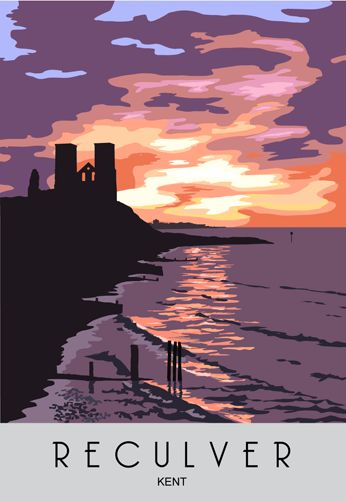 Reculver Sunset. Railway Poster style Illustration by www.whiteonesugar.co.uk Kent Coast