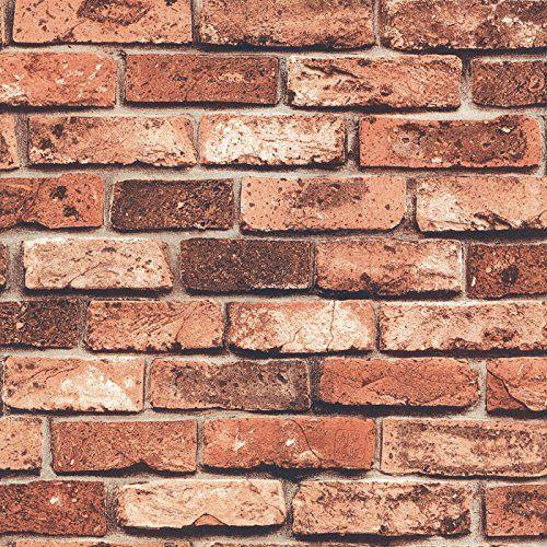 69090PVC Vinyl Retro Vintage Faux Brick Wallpaper for