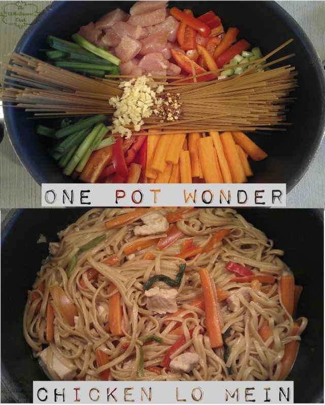 One pot wonder chicken lo mein. Looks easy and has been getting good reviews. This links to the actual recipe. Calories: 332 Fat(g): 4.7 Saturated Fat(g): 0.3 Protein(g): 17.6 Carbohydrate(g): 53.9 Fiber(g): 7.2