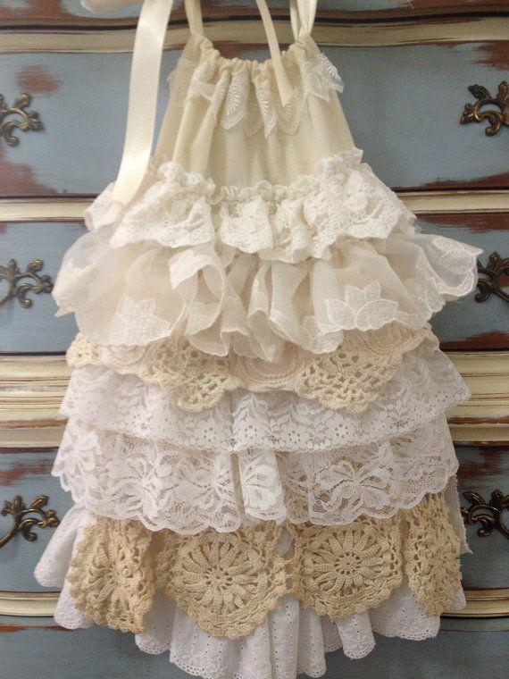 Vintage Flower Girl Dress // BOHO Girls Dress // Lace layered/Ruffle Dress//  Custom Girls Dress size 1t, 2t, or 3t on Etsy, $144.18 CAD