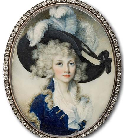 An image of an 18th century painting of an aristocratic woman wearing a large hat