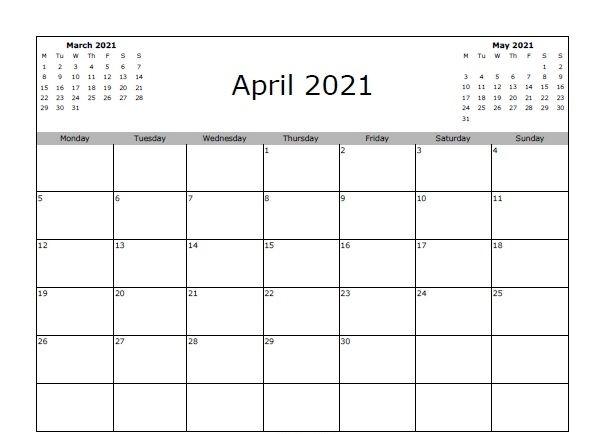 April 2020 Calendar Printable Template Free Download In 2020