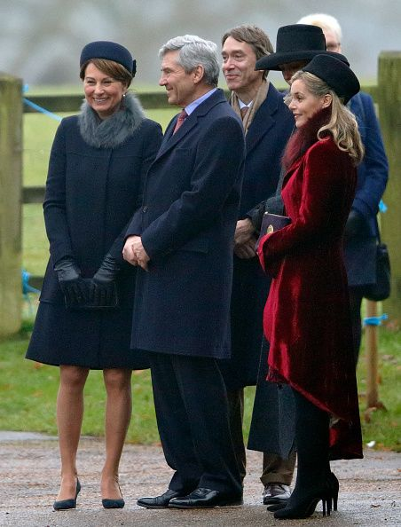 Carole Middleton, Michael Middleton, David Cholmondeley, Marquess of Cholmondeley (3rd L) and Sophie Carter (R) attend the Sunday service at St Mary Magdalene Church, Sandringham on January 8, 2017 in King's Lynn, England.
