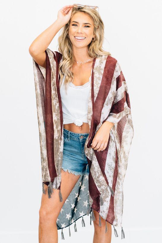 5cba8e6881 Vintage Flag Kimono Vintage American flag inspired print kimono with ...