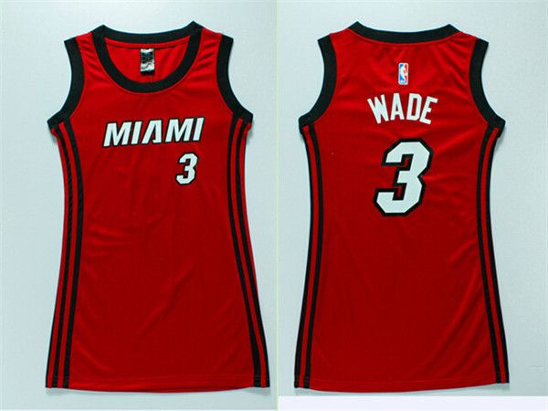 Dwyane Wade #3 Miami Heat Red Women Dress Jersey