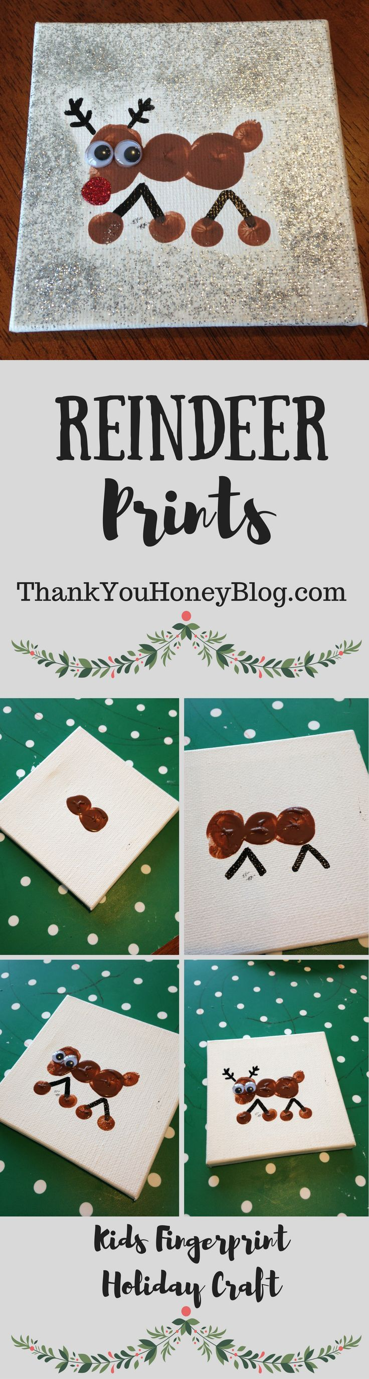 Click through & PIN IT to read later & Follow + Subscribe! Reindeer Prints Kids Holiday Craft, Holiday, Christmas, Ornaments, Reindeer, Easy, Can Make, Gifts, Classrooms, DIY, Children, Fingerprints, Children's, Tutorials,
