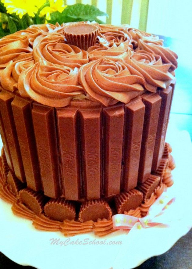 Kit Kat and Reese's Cup Cake by MyCakeSchool.com~ Blog Tutorial