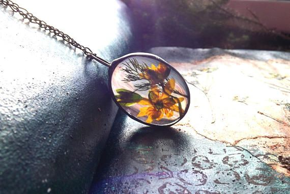 Pendant with yellow flowers. Real flower necklace. Yellow