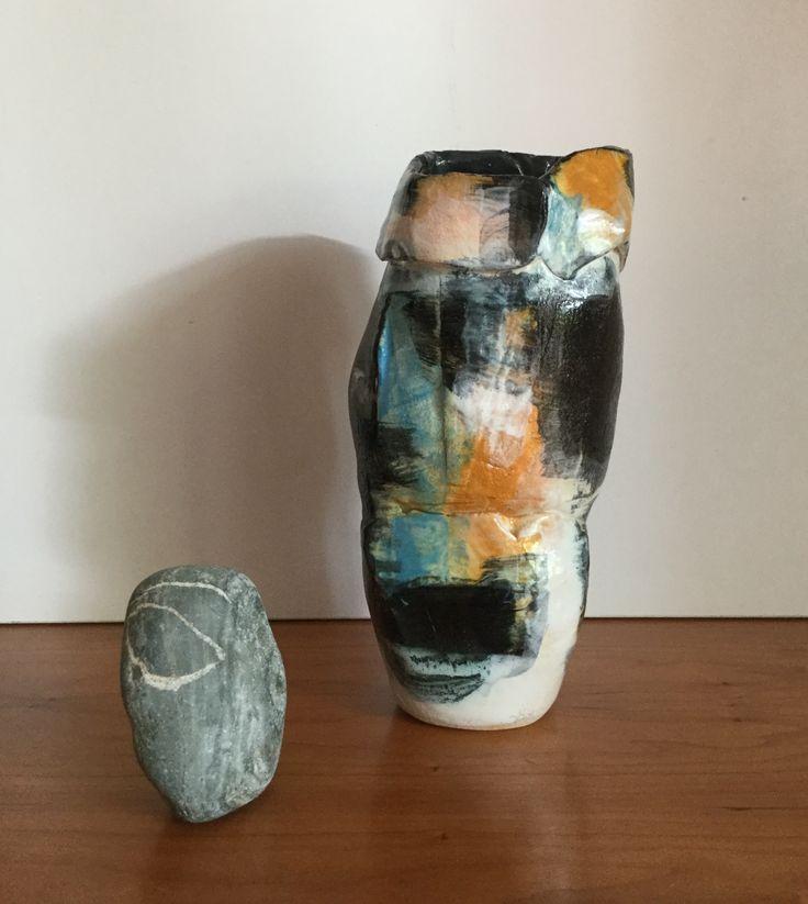 Free form  with under glaze .