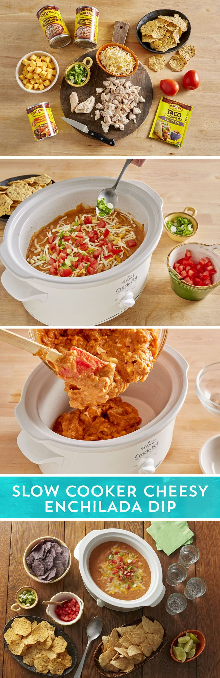 Chicken enchiladas meet cheesy bean dip in this easy slow cooker appetizer sure to please any crowd. Combine Old El Paso™ traditional refried beans, Old El Paso™ mild enchilada sauce, chopped rotisserie chicken, Old El Paso™ chicken taco seasoning, and Kraft™ Velveeta™ in a slow cooker. Fifteen minutes of prep and you get to set it and forget it. Pair it with your favorite chip for dipping and you've got the perfect dish for game day, potlucks, and more!