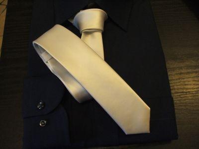 Cravatta Slim Rasata Bianco Cravattino Stretto Linea Anni 60