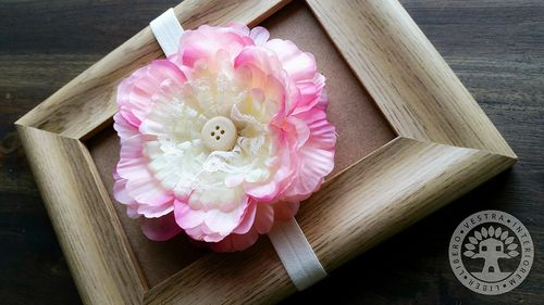 Strawberries & Cream Peony Elastic Headband by Corinne Jade