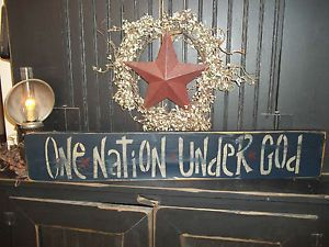primitive americana decor | ... God Primitive Wooden Rustic Distressed Americana Decor Sign | eBay