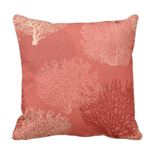 coral brings positive  energy into a room, and surrounding yourself, family, and friends around this  kind of amazing energy is simply remarkable.  This is why I love  coral throw pillows as they also make a room very plush and comfortable.  Indeed coral accent pillows make a house  truly come alive with color #coral #homedecor      Fan Coral Print, Shades of Coral Orange Throw Pillow