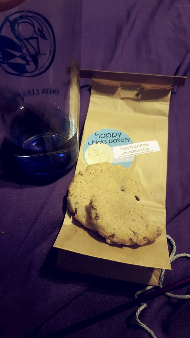 Cookies and white wine because I'm an adult (one who can't find her wine glasses). I love having an all-vegan bakery nearby.