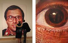 An artist who I've come to admire, Chuck Close, formerly a painter of hyper realistic portraits but who has now moved on to portraiture made of smaller, abstract paintings. With all of his work being on a huge scale.