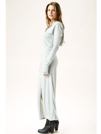 Grey Long Sleeve Hooded Zipper Split Maxi Dress