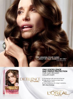 L Or 233 Al Paris Excellence Creme Featuring Andie Macdowell