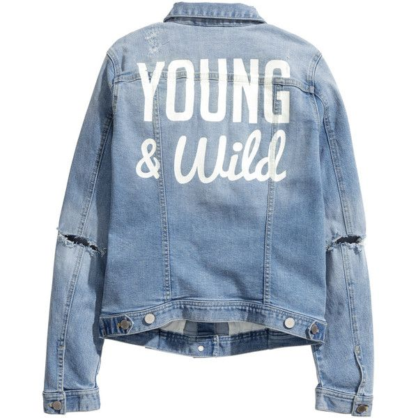 H&M Denim jacket with a print ($23) ❤ liked on Polyvore featuring outerwear, jackets, coats - cardigans - jackets - etc, blue denim jacket, jean jacket, blue jackets, cardigan coat y denim jacket