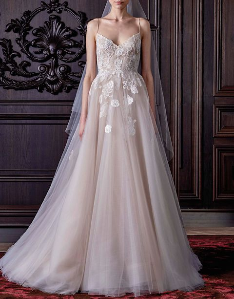Traditional A-line gown from Monique Lhuillier.