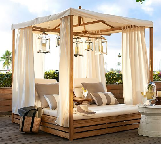 The Pottery Barn Outdoor Furniture Sale is going on now for a limited time. We have the scoop on how you can save 30% off on chaise lounges, outdoor dining tables, a cabana and more.