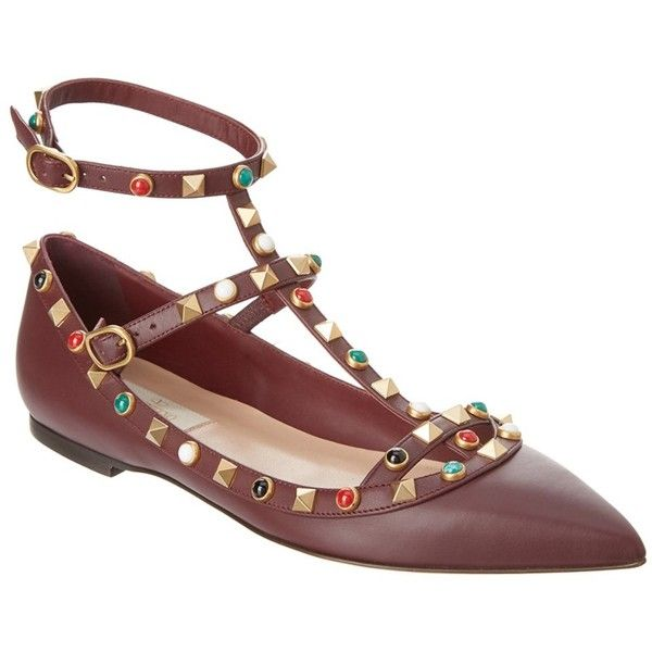 Valentino Rolling Rockstud Leather Ankle Strap Ballerina Flat (16.683.540 VND) ❤ liked on Polyvore featuring shoes, flats, purple, ballet pumps, leather ballet shoes, ballet flats, roll up flats and studded ballet flats