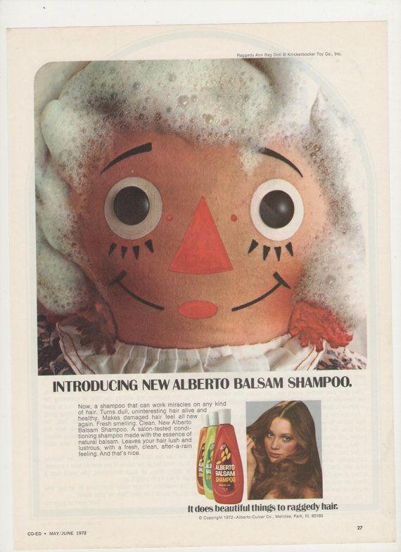 1972 Alberto Balsam Raggedy Ann Advertisement Shampoo Doll 70s Hair Salon Stylist Hairdresser Retro Wall Art Decor