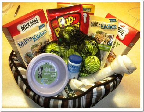 "Inspiration: New/first Puppy Gift Baskets. A Kitten one would be great too (litter box as the ""basket"")"