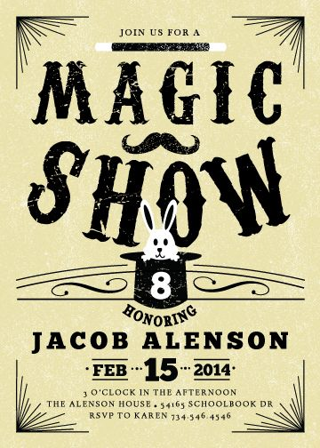 magic show birthday invitation - RUVAcards