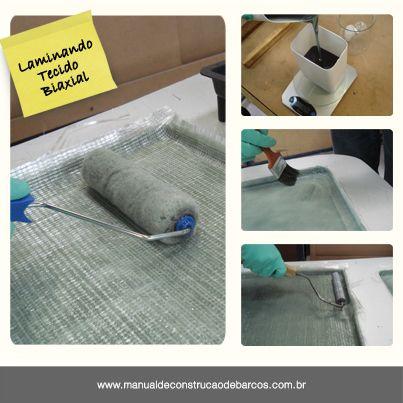 """""""Com o tecido biaxial colocado sobre o molde deve se iniciar a laminação de mais uma camada. Comece calculando a quantidade de resina que vai ser utilizada para a laminação. Com o peso dos tecidos é fácil determinar quanto vai ser consumido de resina. Para os tecidos biaxiais, a proporção é de aproximadamente 50%- 50%. Então para cada quilo de tecido vai ser necessário um quilo de resina.""""  www.manualdeconstrucaodebarcos.com.br"""