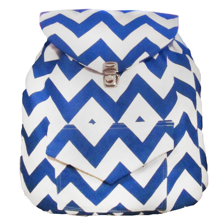 Backpack Blue Chevron / Mochila Zig Zag azul y blanca.