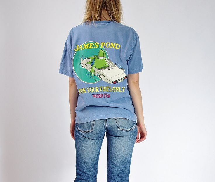 90s Weird Fish James Pond Only for Your Fries Funny T-shirt / Size S